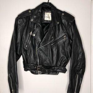 Avanti Black Leather Moto Jacket Sz Medium